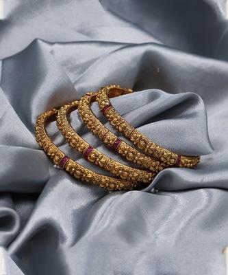 Gold Plated Designer Bangle Set of 4