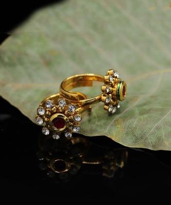 Gold Plated American Diamond Toe Ring