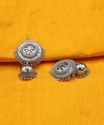 Afgani Chand German Silver Oxidized Grey Jhumki Earrings for Women