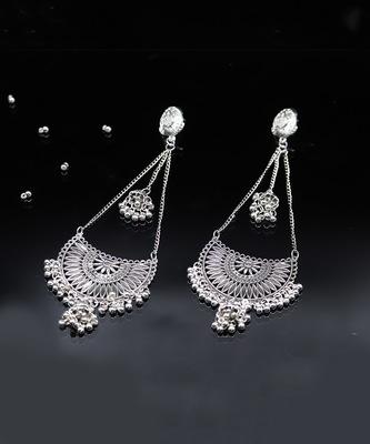 Indian Oxidized Silver Afghani Kashmiri Long Jhumki Earrings