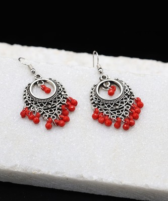 Silver Oxidized Chandbali Red Bead Earrings
