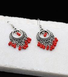 Silver Oxidized Chandbali Red Bead Earrings