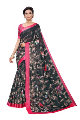 Black printed linen saree with blouse