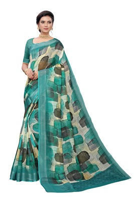 Dark olive printed linen saree with blouse