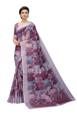 Maroon printed linen saree with blouse