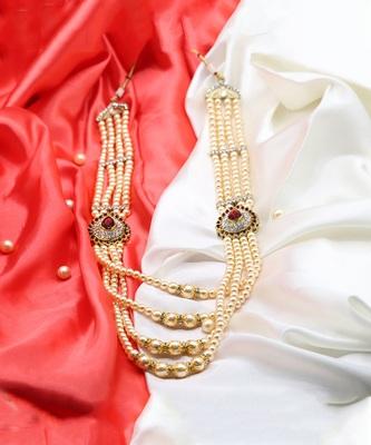 Long Pearl Jewellery Necklace For Men/Groom For Wedding Wear(