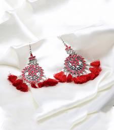 Silver Plated Red Tassel Drop Earrings for Women