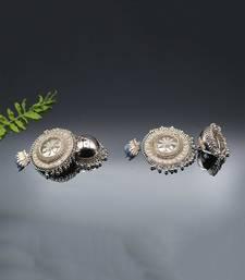 Metal Silver Oxidized Tassel Jhumki for Women & Girls