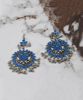 Silver Plated Blue Chandbali Afghani Dangle Drop Earrings