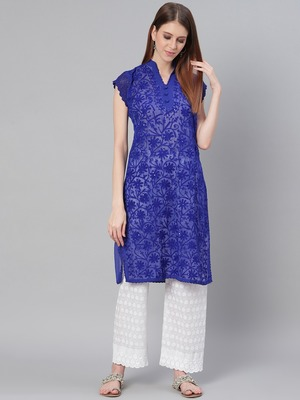 Navy-blue embroidered georgette embroidered-kurtis