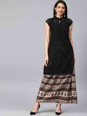 Black embroidered georgette embroidered-kurtis