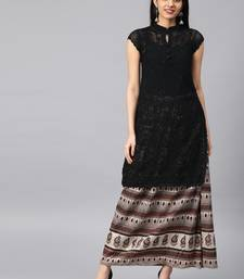 Black embroidered georgette embroidered-kurtis