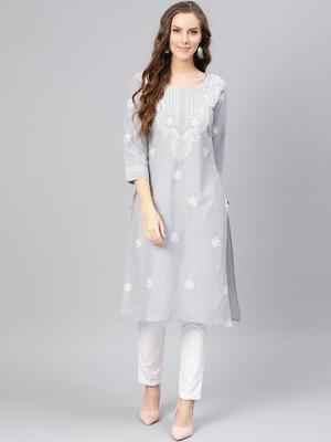 Grey hand woven linen chikankari-kurtis
