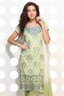 Pista Green cotton jacquard embroidered suit