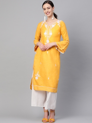 Yellow embroidered cotton embroidered-kurtis