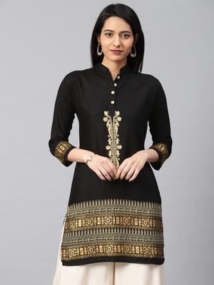 Black embroidered rayon embroidered-kurtis