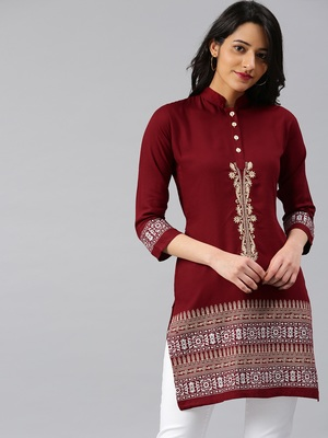 Maroon embroidered rayon embroidered-kurtis