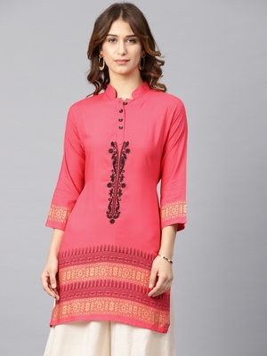 Pink embroidered rayon embroidered-kurtis
