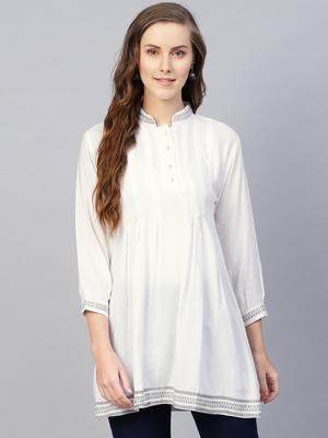 White embroidered rayon embroidered-kurtis