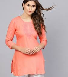 Peach embroidered rayon embroidered-kurtis