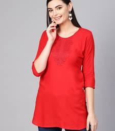 Red embroidered rayon embroidered-kurtis