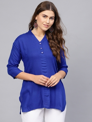 Blue plain rayon embroidered-kurtis