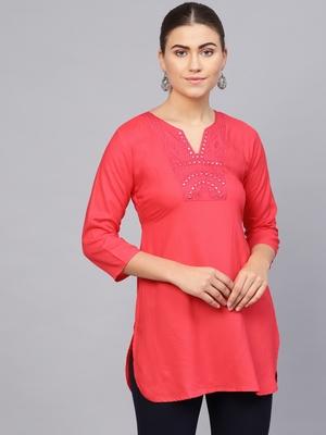 Pink plain rayon embroidered-kurtis
