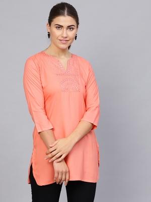 Peach plain rayon embroidered-kurtis