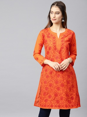Orange embroidered cotton embroidered-kurtis