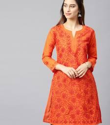 Orange embroidered cotton embroidered-kurtis