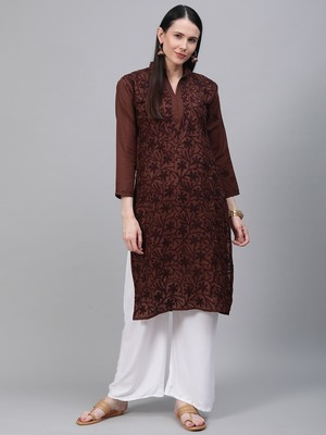 Brown embroidered cotton embroidered-kurtis