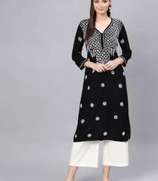 Black hand woven rayon chikankari-kurtis