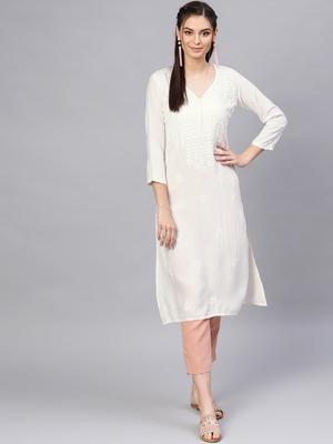 White hand woven rayon chikankari-kurtis