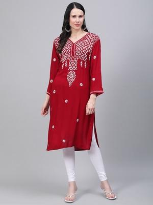 Maroon hand woven rayon chikankari-kurtis