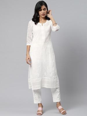 White hand woven art silk chikankari-kurtis