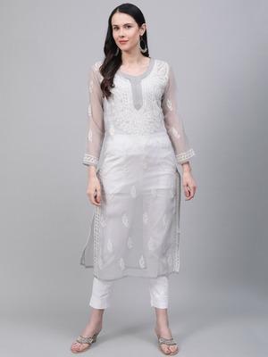 Grey hand woven art silk chikankari-kurtis