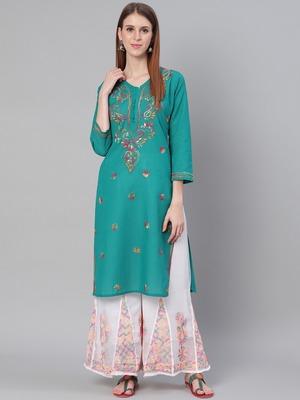 Green hand woven cotton chikankari-kurtis