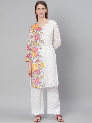 White embroidered cotton embroidered-kurtis