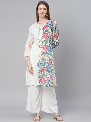 White embroidered cotton embroidered-kurtis
