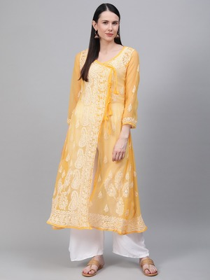Yellow embroidered georgette embroidered-kurtis