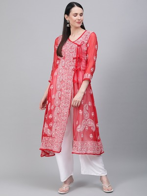 Red embroidered georgette embroidered-kurtis