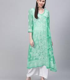 Sea-green embroidered georgette embroidered-kurtis