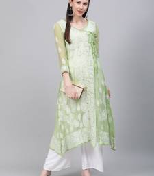 Light-green embroidered georgette embroidered-kurtis
