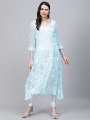 Sky-blue embroidered georgette embroidered-kurtis
