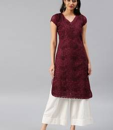 Maroon embroidered cotton embroidered-kurtis
