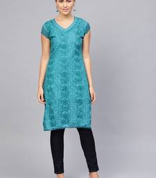 Royal-blue embroidered cotton embroidered-kurtis