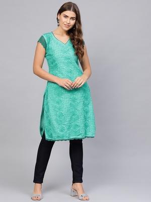 Sea-green embroidered cotton embroidered-kurtis