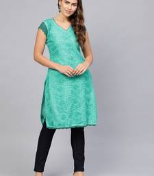 Sea-green embroidered cotton embroidered-kurtis