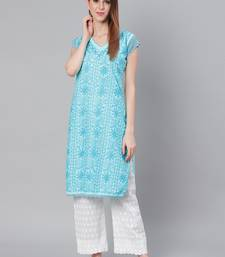 Sky-blue embroidered cotton embroidered-kurtis