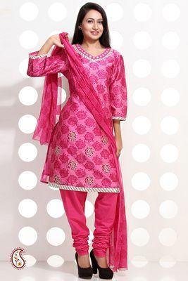 Rose Pink Block print Chanderi silk Suit